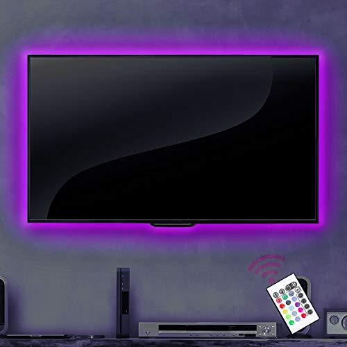 Fernseher Hintergrundbeleuchtung USB für 42 50 Zoll HDTV LED Streifen für TV Dekor LED Streifen mit 20 Farb Licht Optionen Dimmbar mit Fernbedienung
