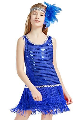 Coucoland 1920s Kleid Mädchen Pailletten Charleston Kleid mit Feder Stirnband Great Gatsby Stil Fasching Kostüm Kleid (Blau, M)