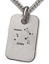 CLEVER SCHMUCK-SET Anhänger Platte mit dem Sternzeichen Widder dargestellt mit dem Sternenbild Aries und Kette Panzer 55 cm EDELSTAHL