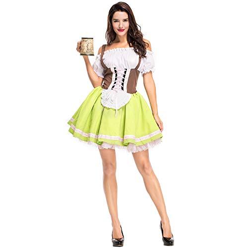 Feicuan Damen Cosplay Kostüm - Frauen 80s Fancy Kleider Halloween Oktoberfest Kleid Bavarian Rock Performance Party Outfit