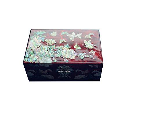 Laogg Chinesische Schmuckschatulle,Schmuckkästchen Schneckenlack Ware Hochzeitsgeschenk Holzschatulle Europäische Ohrringe Halskette Schmuck Chinesische Hochzeit Aufbewahrungsbox (Holz-threading)