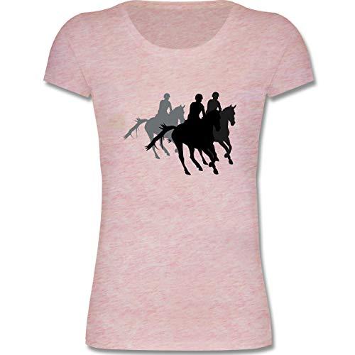 - Freizeitreiten Ausreiten Reiten - 152-164 (12-14 Jahre) - Rosa meliert - F288K - Mädchen T-Shirt