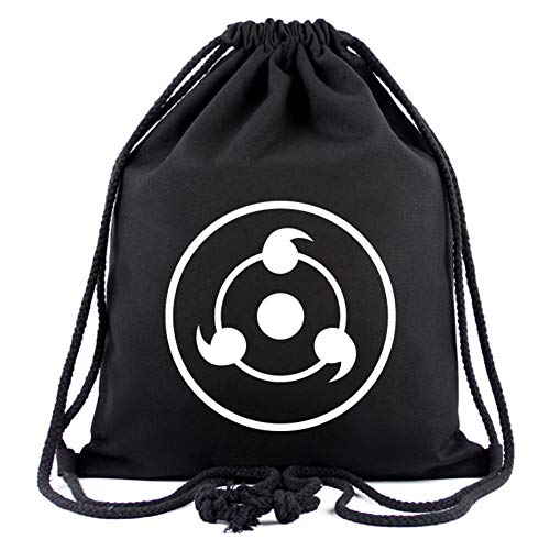 Saicowordist Anime Naruto Student Kordelzug Tasche Persönlichkeit Logo Bunte Druck Rucksack Anime Fans Heißes Geschenk Geeignet für Schule Outdoor Sports(Sharingan) -