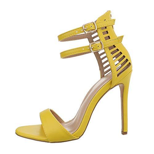 Ital-Design Damenschuhe Sandalen & Sandaletten High Heel Sandaletten Synthetik Gelb Gr. 39 (Gelbe Schuhe Mit Absätzen Für Frauen)
