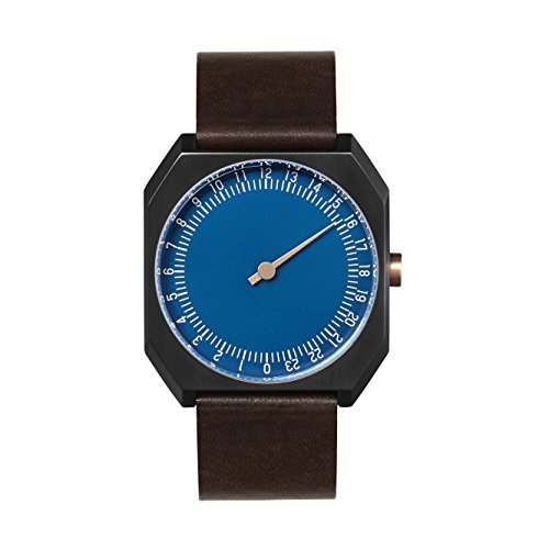 slow Jo 30 - Dark Brown Vintage Leather, Anthracite Case, Blue Dial