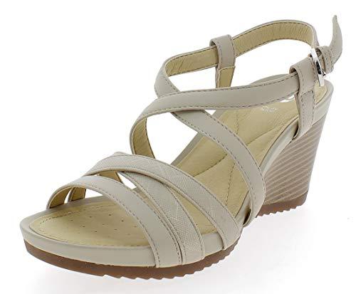 Geox D92P3B 05404 Sandalo Zeppa Donna Beige 39