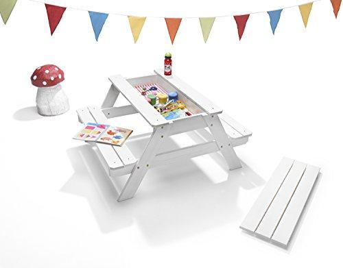 traturio Kinder Picknicktisch, Malen & Basteln, Sitzgruppe im Landhausstil, wetterfest