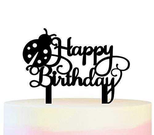 Innovedesire Happy Birthday Lady Bug Kuchenaufsätze Hochzeit Geburtsta Acryl Dekor Cupcake Kuchen Topper Stand für Kuchen Party Dekoration 11 Stück