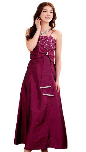 PLAER femmes Cocktail robe de bal du soir lacer digne et élégante robe longue Violet