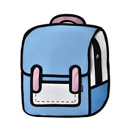 Women Backpack Creative 2D Drawing Backpacks 3D Jump Style Cartoon School Bag for Girls Traval Rucksack G 39 x 37 x 10 cm