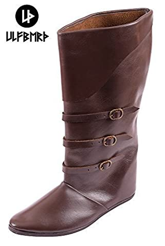 Schnallenstiefel, lacets de style médiéval en cuir marron foncé bottes lARP - Marron - Marron, 41 EU