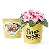 Facepot Blumentopf (ø16cm) - Großmutter Geschenke zu Weihnachten oder Geburtstag mit Bilderrahmen für Zwei Fotos (10x15cm) - Oma
