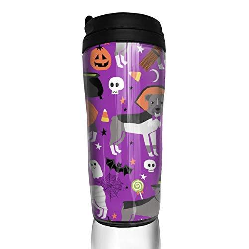 Pitbull Halloween-Kostüm Hund Vampir Geister Mumie Lila_16844 Kaffeetasse 340 ml auslaufsicherer Klappdeckel Wasserflasche Umweltschutz Material ABS