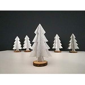"""5er-Set Papierornamente""""Tannenbaum"""" aus silbernem Glitzerpapier//Weihnachtsbaum//Deko für Weihnachten"""