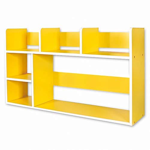 DULPLAY Schreibtisch Verstellbar Bücherschrank, Moderne Für Kinder Offene Regale Holz Storage Organizer Regal-Display Rack Für datensätze & bücher -Gelb 80x20x46cm(31x8x18inch) -