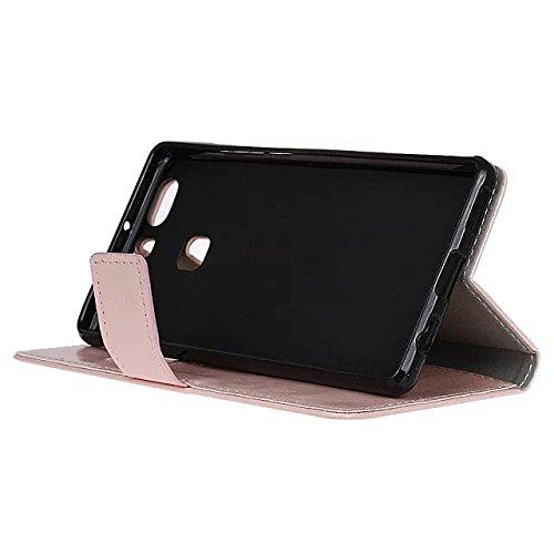 Verrückte Pferd Texture Pattern synthetische PU-ledernen Fall horizontalen Flip-Ständer Case Wallet Fall Deckung Solid Color Case für Huawei Honor V8 ( Color : Blue , Size : Huawei Honor V8 ) Pink