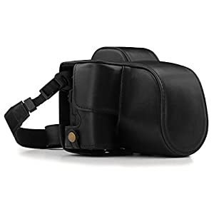 MegaGear MG1446 Canon EOS M50 (15-45mm) Ever Ready Leather Camera Case and Strap - Black