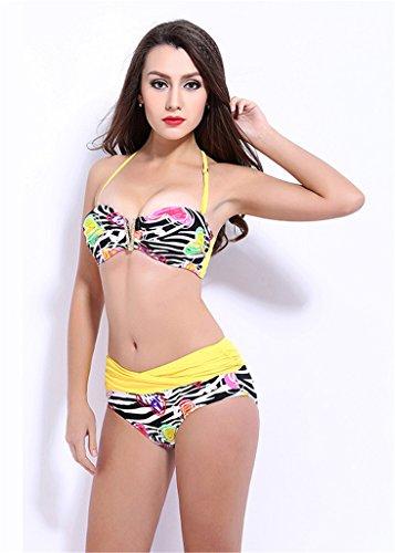 Fortuning's JDS Mode sexy Halteransatz Herz hoch taillierte Bikini gesetzte Badeanzugbadebekleidung gedruckt Gelb