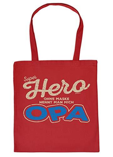 Enkel - Opa Geschenk-Tasche - Sprüche Baumwolltasche Opi : Super Hero ohne Maske nennt Man Mich Opa - Einkaufstasche Geschenktasche Großvater -Farbe: Rot - Opi-maske