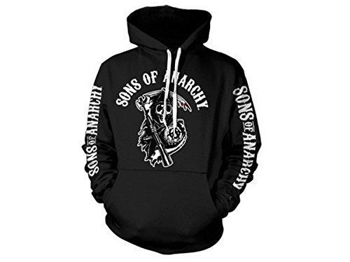 Sons of Anarchy (SOA Logo Official Licensed Hoodie, X-Large (Black)