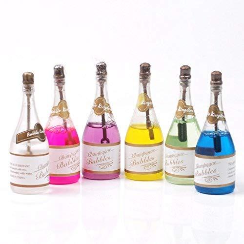 JRing 24Pack Bunte Hochzeit Bubbles - Seife Blasen Hochzeitsfeier Champagner Flasche Design mit 6 verschiedenen Farben Seifenwasser