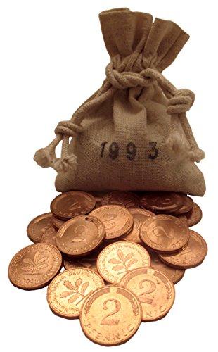Silberhochzeit Geschenk – 25x 2 Pfennig Münzen von 1993 neu poliert – Schönes Geschenk zum 25. Hochzeitstag