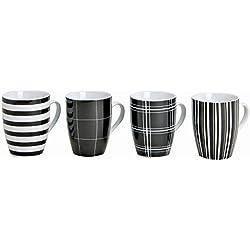 Tassen-Set 4-teilig in Schwarz-Weiß gestreiftem & kariertem Design | Große Kaffee-Tassen 10cm hoch, 300 ml Volumen, Ø 8 cm | Porzellan Kaffee-Becher 4er Set mit großem Henkel für Heißgetränke