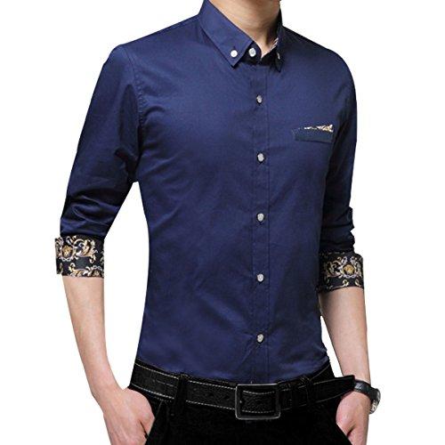 Camicia A Maniche Lunghe Di Colore Solido Uomini Slim Inverno Blue