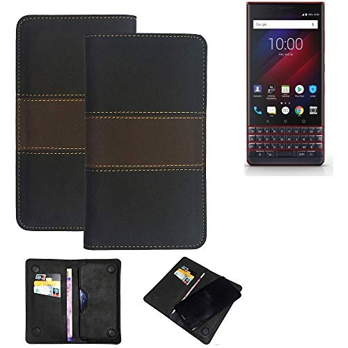 K-S-Trade® Handy Hülle Für BlackBerry Key 2 LE Dual-SIM Schutzhülle Walletcase Bookstyle Tasche Schutz Case Handytasche Wallet Cover Kunstleder Snapcase Dunkelbraun, 1x