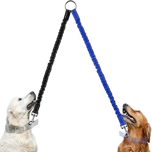 Hundeleine Doppelleine, PETBABA 40cm Lang Elastisch Reflektierend Nylon Training Hunde Leine für 2 Hunde Blau