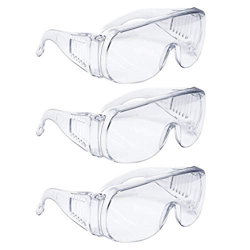 ICEBLUEOR Schutzbrille, 3 Stück Z87+ Standards, Brillen, persönliche Schutzausrüstung/PPE für BAU, Heimwerker, Heimprojekte und Labor-Arbeit