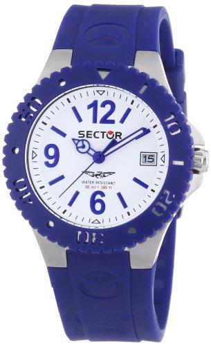 Sector - R3251111002-175 - Montre Mixte - Quartz Analogique - Cadran Blanc - Bracelet Caoutchouc Bleu