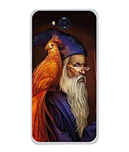 PrintVisa Designer Back Case Cover for Micromax Canvas Play Q355 (Peacock And The Magician Design)