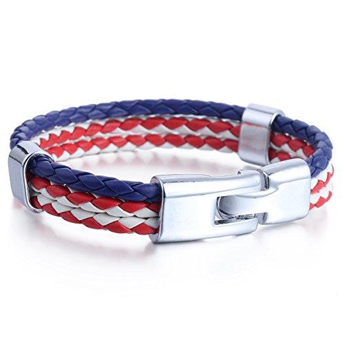 Trendsmax Uomo Donna Blu Scuro Bianco Rosso US / American Flag Colore dei 3 fili di cuoio sintetico di polsino del braccialetto del Surf 9