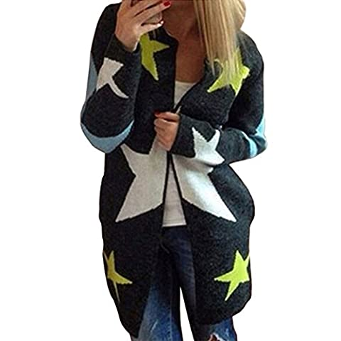 Women Long Cardigans Five-pointed Star Print Pattern Long Sleeve Loose Sweaters
