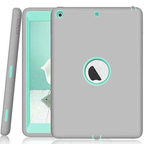 ZERMU Schutzhülle für iPad 9.7 2018/2017, 3-in-1, strapazierfähig, stoßfest, robust, aus Silikon und hartem Polycarbonat, stoßdämpfend, für Das iPad 6. Generation, Gray-Aqua
