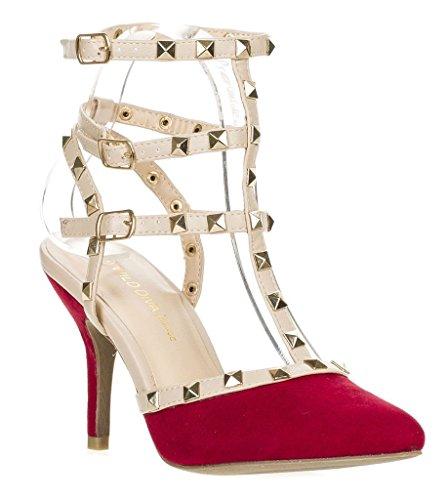 Arc-en-ciel womenâ s Schuhe verzierte Schnalle High Heel Sandale Rot2