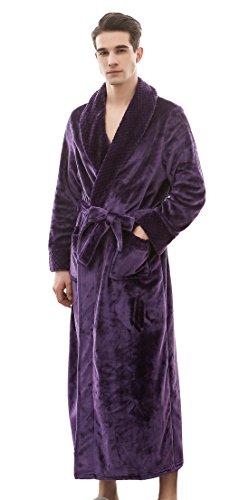 SUIMO - Albornoz de Forro Suave Unisex para SPA Hotel Casa Sauna Bata de Baño Ducha Pijama para Hombre Mujer - Violeta - M