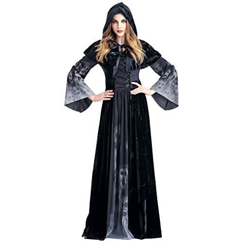 DENGZI Halloween Cosplay Jahrgang Hexe Langarm Maxi Kleid Damen Kostüm