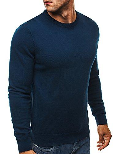OZONEE Herren Pullover Feinstrick Sweatshirt Pulli NEW MEN 9020 Dunkelblau