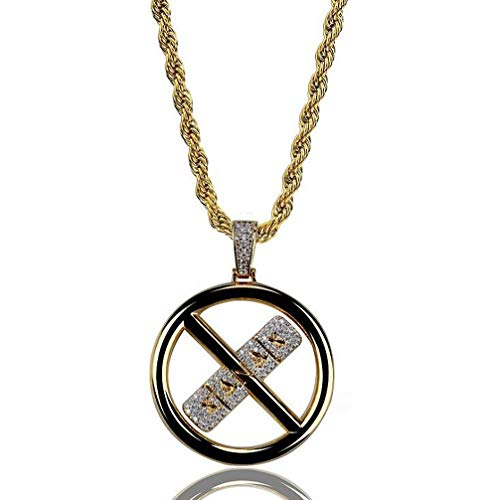 ANLW XAAX Cross Circle Herren Halskette Micro-Intarsien Zirkon Hip Hop Anhänger Modeschmuck