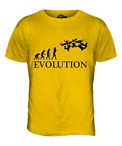 CandyMix Formationsspringen Fallschirmspringen Evolution Des Menschen Herren T Shirt Dunkelgelb