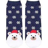 SUPVOX Calcetines de Navidad Copo de Nieve y ovejas Patrón Invierno Calcetines de algodón Regalo de la Fiesta de Navidad para Mujeres niñas (Marina)