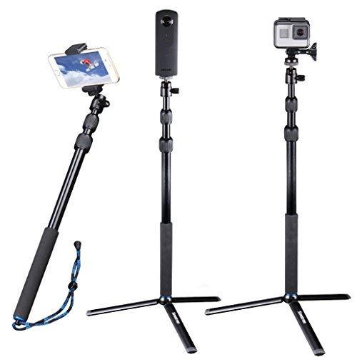Smatree DC Bastone Selfie Monopiede Telescopico Allungabile con Treppiede per GoPro Hero 2018, Hero 7/6/5/4/3+/3/2/1/ Fusion/Session/ Ricoh Theta S/V, M15 Fotocamere Compatte e Smartphone