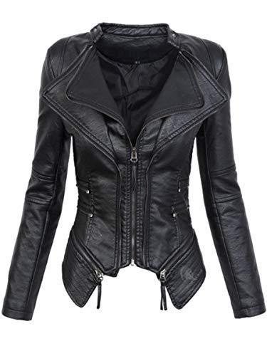 ca4cd8fb782f PU gotica XSQR Giacca in pelle artificiale Abbigliamento Autunno Inverno  Moto delle donne del cappotto del