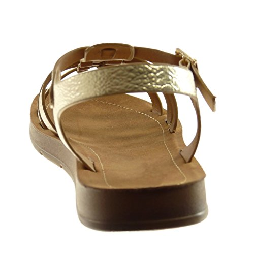 Angkorly Chaussure Mode Sandale Lanière Cheville Spartiates Salomés Femme Grainé Multi-Bride Talon Plat 2 cm Or