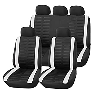 Upgrade4cars Auto-Sitzbezüge Set Universal Auto-Schonbezüge Schwarz Weiß mit Seiten Airbag Öffnungen und Teilbarer Rückbank Auto-Zubehör Innenraum
