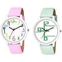 Kd Enterprise Analogue Multicolour Dial Boy's Girl's and Women's Watch (Pack of 2)... (Pink N Green)