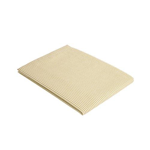 """Vaitkute 210032 Halbleinen Tischdecke """"Streifen"""" 140 x 140 cm, mit Briefecken, 50% Leinen und Baumwolle, 60 Celsius waschbar, 210 g / m2, weiß / grün gestreift"""