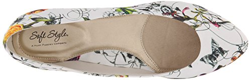 Soft Style by Hush Puppies Women's Darlene Wedge Pump, Mid Brown Leather, 10 M US White Spring Grosgrain